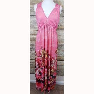 One World Pink Tie Dye Butterfly Maxi Dress Jr M